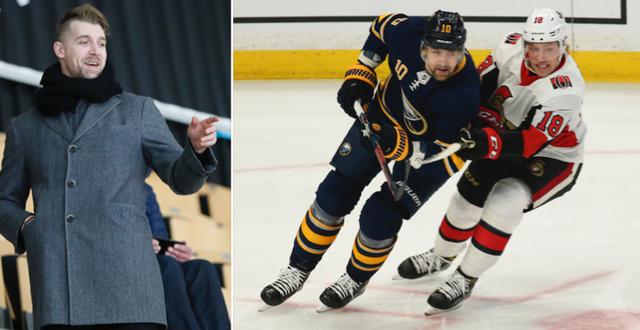 Patrik Berglund på läktaren under en hockeyallsvensk match i år/Berglund på isen med Buffalo tidigare i år.  TT