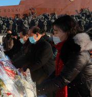 Pyongyang-bor hyllar tidigare ledarna Kim Il-sung och Kim Jong-il vid nioårsdagen av den senares bortgång den 17 december. Jon Chol Jin / TT NYHETSBYRÅN