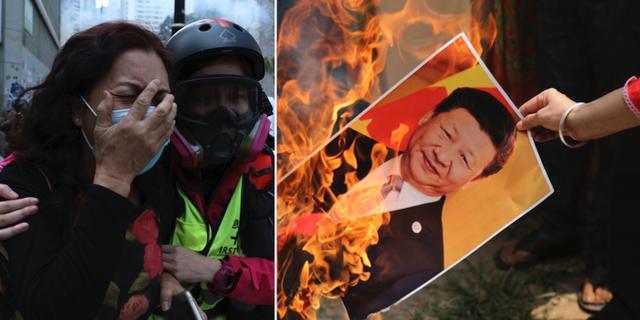 Bilder från protester i Hongkong. TT