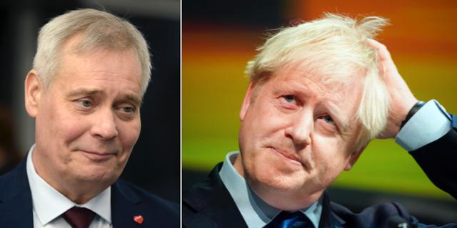 Finlands Antti Rinne och Storbritanniens Boris Johnson. TT