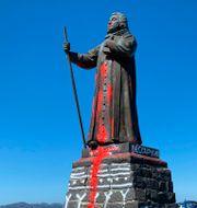Statyn av Hans Egede har vandaliserats tidigare Christian Klindt Soelbeck / TT NYHETSBYRÅN