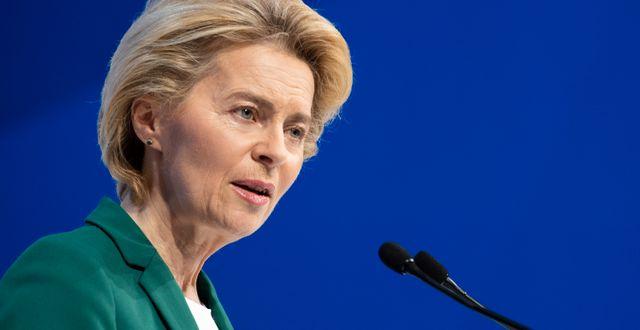 EU-kommissionens ordförande Ursula von der Leyen under toppmötet i Davos. Gian Ehrenzeller / TT NYHETSBYRÅN