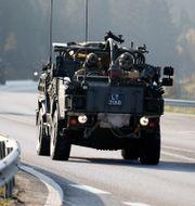 Natos militärfordon kör genom Sverige för en övning i Norge 2018.  Adam Ihse/TT / TT NYHETSBYRÅN