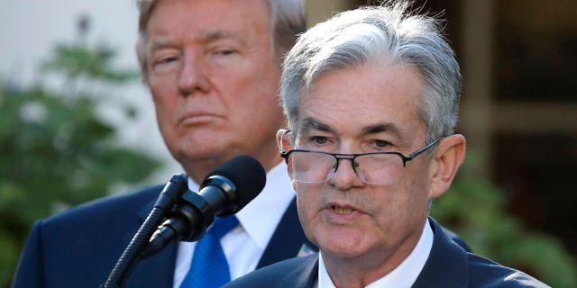 President Trump och Federal Reserves ordförande Jerome Powell. Carlos Barria / TT NYHETSBYRÅN