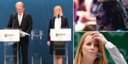 Försvarsminister Peter Hultqvist (S), finansminsister Magdalena Andersson (S), L-ledaren Nyamko Sabuni, C-ledaren Annie Lööf TT