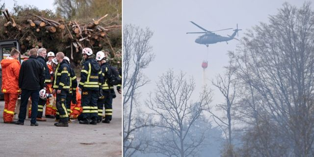 Bilder från branden i Hästveda i Hässleholm.  Johan Nilsson/TT