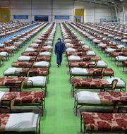 Bild från ett tillfälligt sjukhus med 2000 sängar i Irans huvudstad Teheran. Ebrahim Noroozi / TT NYHETSBYRÅN