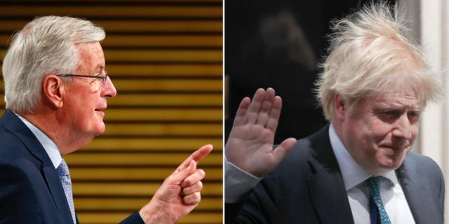 Michel Barnier och Boris Johnson.  TT
