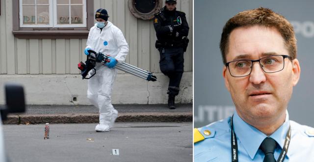Polis på en av brottsplatserna / Ole Bredrup Sæverud. TT
