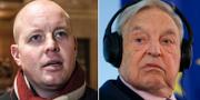 Björn Söder och George Soros. TT
