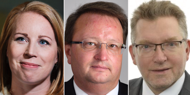 Riksdagsledamöterna Annie Lööf (C), Lars Beckman (M) och Isak From (S). TT/Riksdagen