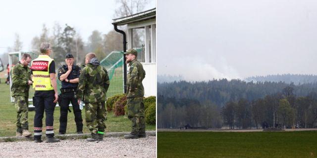 Räddningstjänst och polis på plats i Tjällmo.  TT.