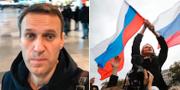 Aleksej Navalnyj tog en selfie på flygplatsen i Moskva. Till höger en bild från en demonstration som Navalnyj organiserade i oktober förra året. TT