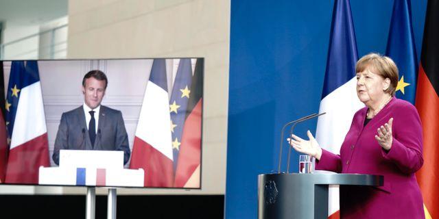 Tysklands förbundskansler Angela Merkel och Frankrikes president Emmanuel Macron vid en gemensam presskonferens i maj.  Kay Nietfeld / TT NYHETSBYRÅN
