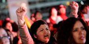 Andrés Manuel López Obrador-anhängare under ett valmöte. DANIEL BECERRIL / TT NYHETSBYRÅN