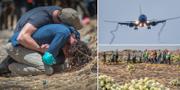 Sörjande människor och ett Boeing 737 Max-plan i luften. TT