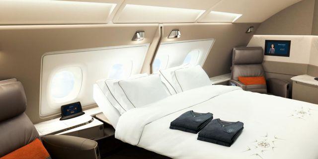 """Singapore Airlines installerar nu flera regelrätta """"hotellrum"""" på sina största passagerarplan, både med enkelsängar och dubbelsängar. Singapore Airlines"""