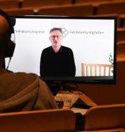 Tegnell under digital pressträff Fredrik Sandberg/TT / TT NYHETSBYRÅN
