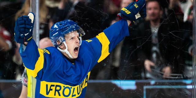 Max Friberg jublar efter 1–1. MICHAEL ERICHSEN / BILDBYRÅN