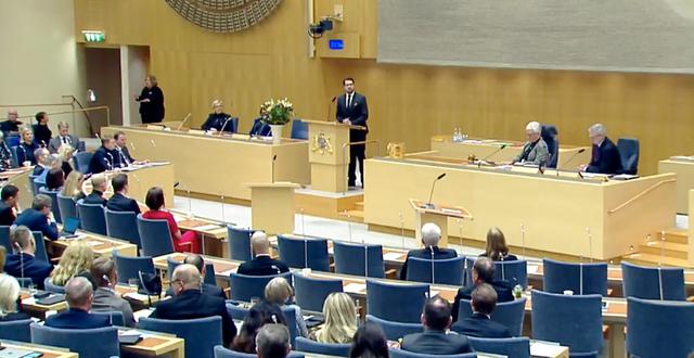 Åkesson talar inför ledamöterna. Riksdagen