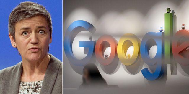 EU:s konkurrenskommissionär Margrethe Vestager. Google-kontor. Arkivbild. TT