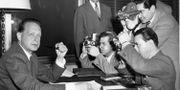 Första arbetsdagen som generalsekreterare i FN 11 april 1953. UPI / TT NYHETSBYRÅN