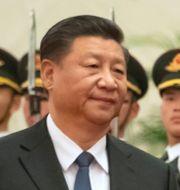 Kinas president Xi Jinping/Provtagningstält för coronaviruset i Göteborg TT/AP
