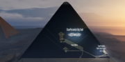 Forskarnas illustration av hålrummet i pyramiden.  ScanPyramids mission. Email address for the copyright holder: contact@hip.institute