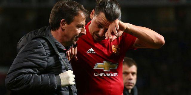 Bild från när Zlatan Ibrahimovic skadade sig. Dave Thompson / TT NYHETSBYRÅN