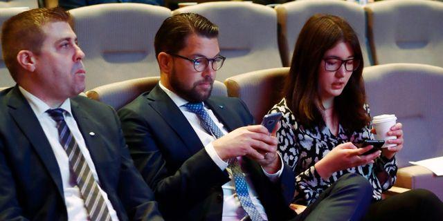 Sverigedemokraternas partiledare Jimmie Åkesson (SD) under Sverigedemokraternas landsdagar I Norrköping. Stefan Jerrevång/TT / TT NYHETSBYRÅN