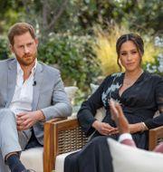 Harry och Meghan under intervjun med Oprah.  Joe Pugliese / TT NYHETSBYRÅN