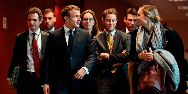 Emmanuel Macron under EU-toppmötet. JOHN THYS / AFP