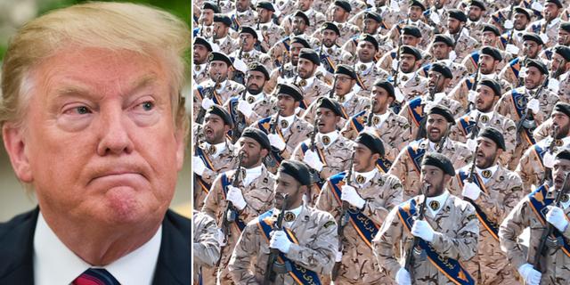 Donald Trump/Irans militär under en marsch förra året. TT