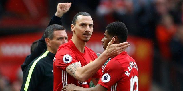 Zlatan Ibrahimovic klappar om lagkamraten Marcus Rashford i helgens Premier League-match. Carl Recine / TT NYHETSBYRÅN