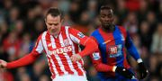 Stoke Citys Glenn Whelan och Crystal Palaces Yannick Bolasie. Mike Egerton / TT / NTB Scanpix