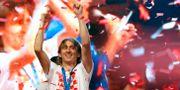 Luka Modric under firandet i Zagreb. Darko Vojinovic / TT / NTB Scanpix