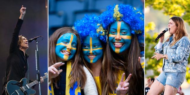 Arkivbilder. Per Gessle (t v), fotbollsfans (mitten), Linnea Henriksson (t h). TT