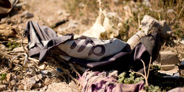 Islamiska statens flagga. Arkivbild. Maya Alleruzzo / TT NYHETSBYRÅN