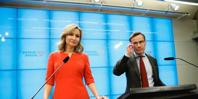 KD:s Ebba Busch Thor och M-ledaren Ulf Kristersson. Christine Olsson/TT / TT NYHETSBYRÅN