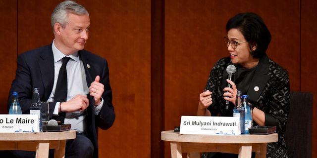 Frankrikes Bruno Le Maire och Indonesiens Sri Mulyani Indrawati. Toshifumi Kitamura / TT NYHETSBYRÅN