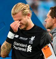Loris Karius efter förlusten mot Real Madrid.  PAUL ELLIS / AFP