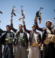 Huthirebeller i Jemen.  Hani Mohammed / TT NYHETSBYRÅN