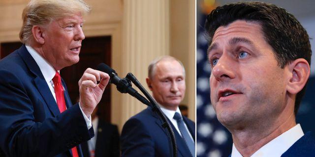 Donald Trump och Vladimir Putin på presskonferensen/Paul Ryan. TT