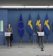 Nya restriktioner presenterades på dagens pressträff.  Anders Wiklund/TT / TT NYHETSBYRÅN