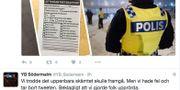 Faksimil från YB Södermalms Twitter-konto.