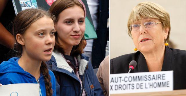 Greta Thunberg/Michelle Bachelet. TT