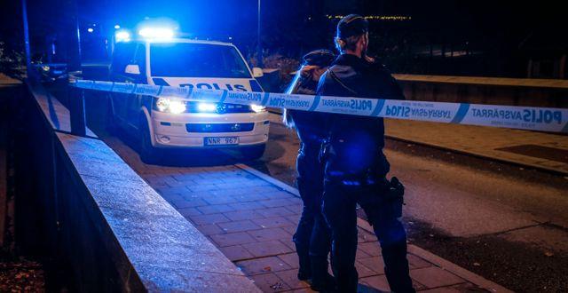 Polisinsatsen efter mordet på Einár i Hammarby sjöstad, Stockholm. Christine Olsson/TT / TT NYHETSBYRÅN