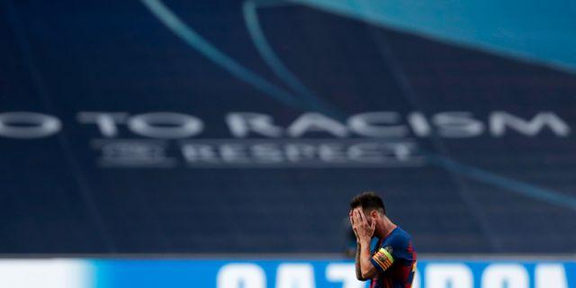 Barcelonas Lionel Messi under matchen Manu Fernandez / TT NYHETSBYRÅN