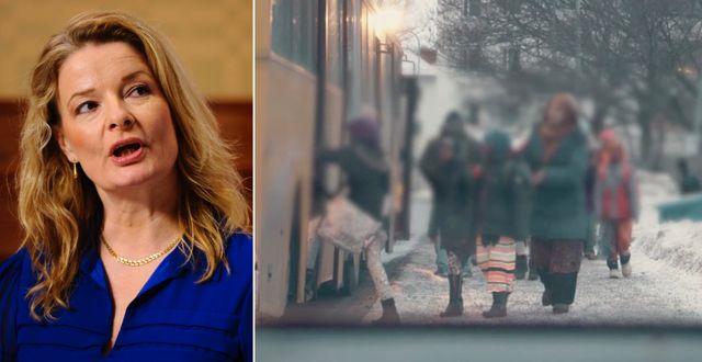 Till vänster: Lotta Edholm, ordförande Liberala Kvinnor och oppositionsborgarråd. Till höger: Skärmdump från Kalla fakta. TT
