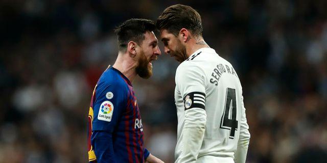 Barcelonas Leo Messi och Reals Sergio Ramos. Manu Fernandez / TT NYHETSBYRÅN